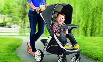 Four wheel travel system strollers