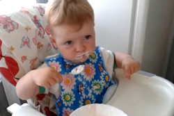 baby eats rice cereal